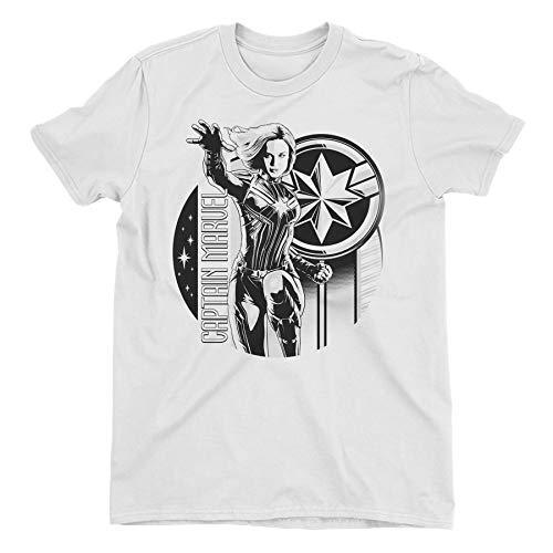 Captain Marvel Black & White Carol Danvers Children's Unisex White T-Shirt 8-9 Years