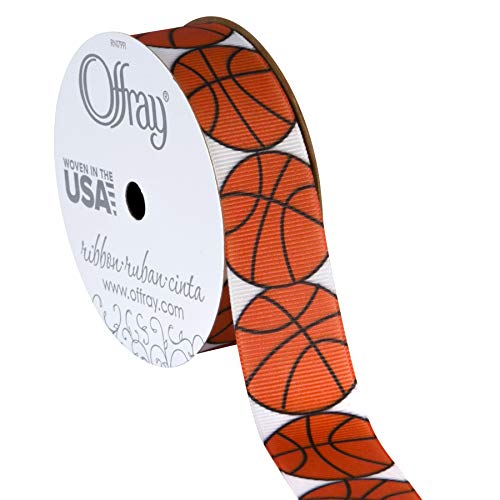 "Offray 922132 7/8"" Wide Grosgrain Ribbon, Basketball Pattern, 3 Yards"