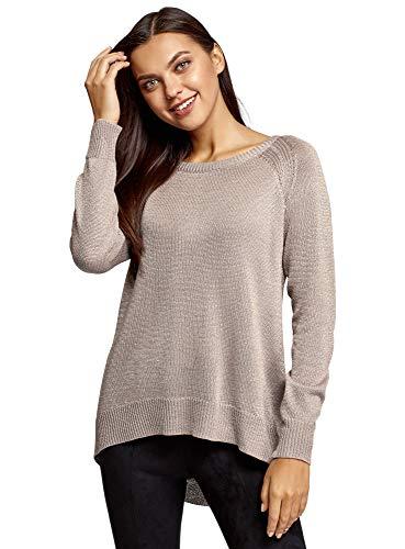 oodji Collection Damen Pullover mit Lurex und Langem Rücken, Grau, DE 42 / EU 44 / XL