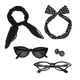 nofonda retrò anni '50 polka dot accessori, fascia + sciarpa + occhiali + orecchini, perfetto per vestito di lusso per donna, bambino (nero)