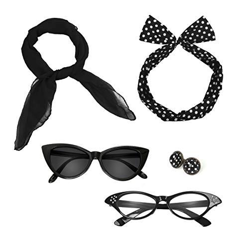 Nofonda 50er 60er Polka Dot Kostüm Zubehör Set Halstuch Katze Brille Bandana Haarband und Ohrringe Retro-Look für Mädchen Damen Frauen (schwarz)