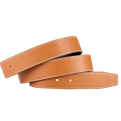 Replacement Leather Belt Strap Reversible Replacement Belt Strap Genuine Leather 1 1/4' Wide - for H Buckle 32inch Brown