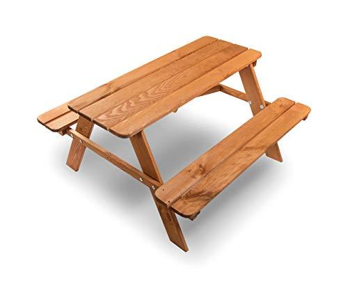 ADGO Children's Wooden - Juego de mesa para picnic (90 x 90 x 49 cm, para exteriores)