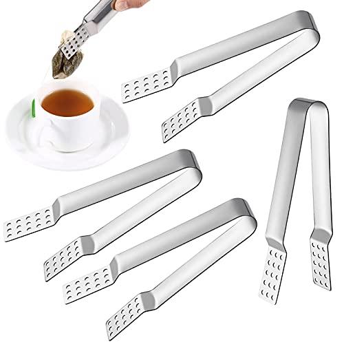 4 stycken mattänger rostfritt stål tepåsarpress tepåse squeezer sil värmetålig tång isbitar tillbehör verktyg för att greppa isbitar tepåsar