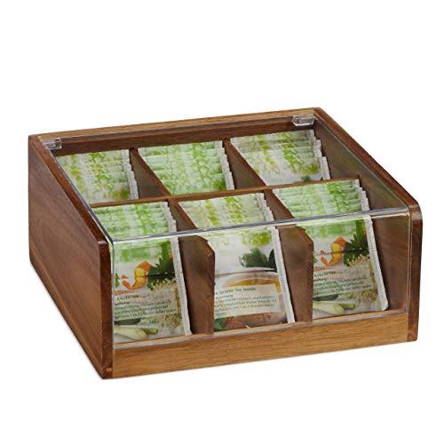 Relaxdays houten theedoos 6 vakken, 90 theezakjes, theedoos met klapdeksel, aromabescherming, H x B x D 9,5 x 22 x 20,5 cm, naturel