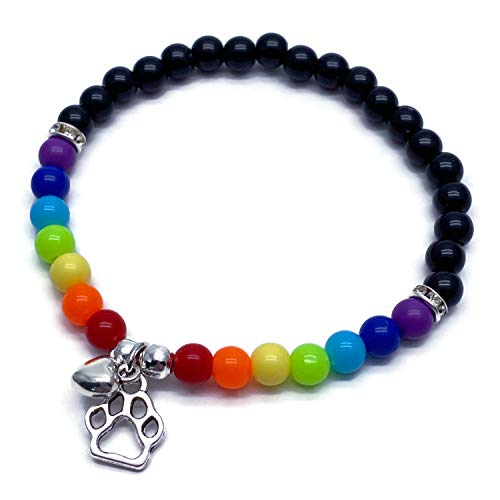 Rainbow Bridge Bracelet with Paw Print and Heart Charm - 6mm Acrylic Beads - Size 7 inches