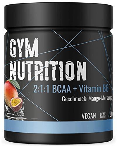 BCAA + Vitamin B6 hochdosiertes Pulver - Leucin, Isoleucin, Valin 2:1:1 - in deutscher premium Qualität - Vegan (Mango-Maracuja)