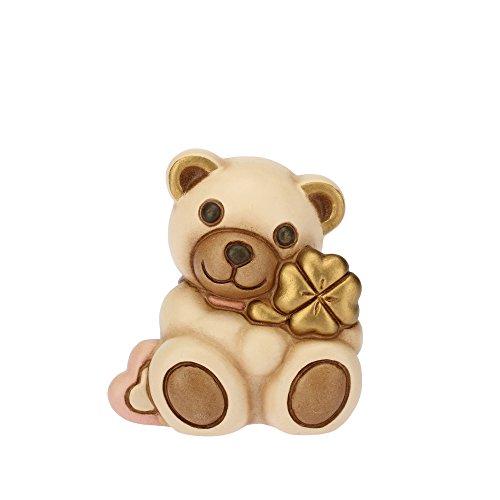 THUN Teddy con Quadrifoglio Figura Ceramica, Marrone, 5.4cm