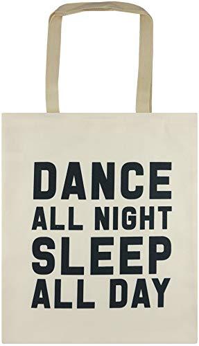 Intermoda Tasche Einkaufstasche Shopper Damen Jutebeutel Stoff Hipster Beige Schwarz Schriftzug Dance Night reißfest doppelte Naht 33x40cm