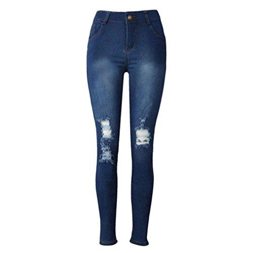 Pantalon pour Femmes, Toamen Denim Skinny Jeans Pantalons à crayons jeans Svelte Longue (S, Bleu)
