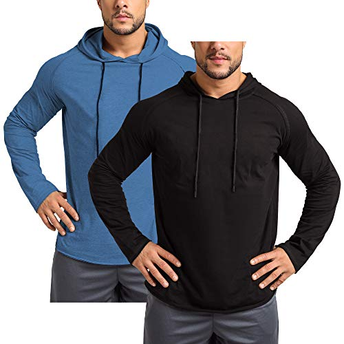 GymRevolution Men's 2 Pack Gym Muscle Long Sleeve Shirts Hoodies Workout Pullover Sweatshirt Black Blue M