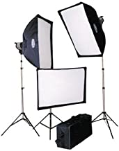 Savage Quartz Light Kit, 3X 1000W Fan Cooled Quartz Lights with Softboxes, Stands and Carry Case, 3000 Total Watts (120VAC)