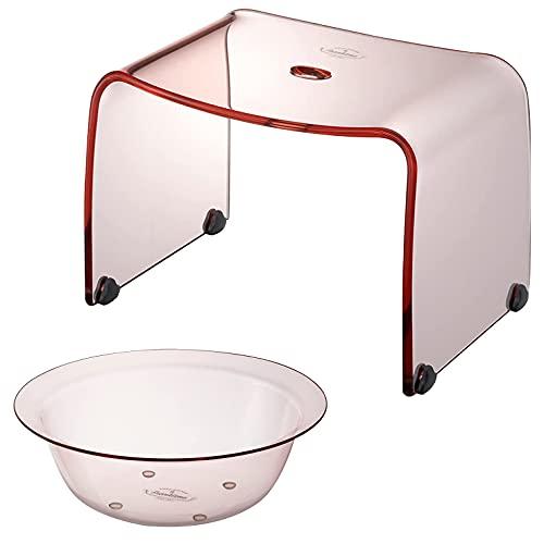 【セット品】 リス フランクタイム 風呂椅子 & 洗面器 クリアピンク バスチェアー M 高さ 25cm & ウォッシュボール S