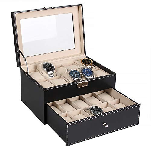 Watch Box Organizer with Valet Drawer, Real Glass Top, Metal Hinge, 20 Slots Watch Storage Case for Men and Women, Black