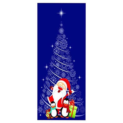 VOSAREA Pegatinas de Puerta de patrón temático de Navidad Autoadhesiva removible Impermeable Puerta Wall Mural Wallpaper para Navidad decoración de Fiesta Suministros (DZMT1 48)