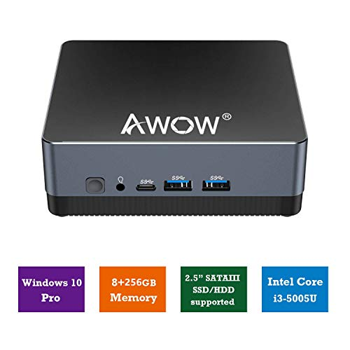 AWOW NYi3 Mini PC Intel Core i3 5005U Windows 10 Pro Desktop Computer, 8GB DDR3 256GB M.2 SSD, 2.4G+5G Dual WiFi, Ethernet 1000Mbps, BT 4.2 Mini Computer