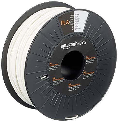 Amazon Basics - Filamento para impresora 3D, ácido poliláctico (PLA), 2.85 mm, cinta de 1 kg, blanco