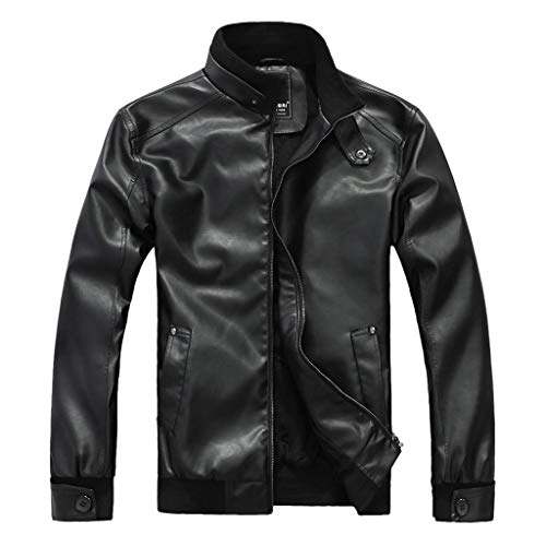Preferential New Zlolia Men Leather Retro Jacket Autumn&Winter Biker Motorcycle Zipper Outwear Warm Coat (M, Black2)