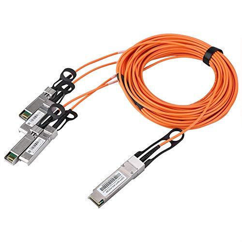 QSFP-4SFP-40G-AOC5M koperen datakabel, 5 m 4 kanalen 10 Gbit / s QSFP Ethernet Direct Attach Copper, SFF-8436 naar SFF-8431 koperdraad, voor cloud computing, datacenters, big data-opslag