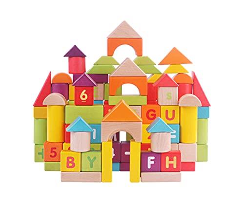 Yx-outdoor Bloques de construcción de Letras geométricas de Colores,Forma de cálculo numérico para niños de jardín de Infantes,Ayuda para la enseñanza de la cognición,sólidos geométricos de Madera