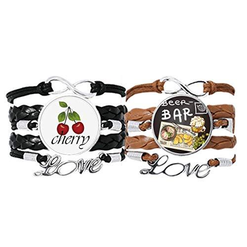 Steak Bar Frankreich Toast Bier Armband Handschlaufe Leder Seil Cherry Love Armband Doppelset