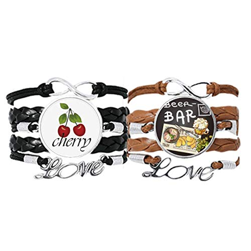 Steak Bar France Toast Beer Bracelet Hand Strap Leather Rope Cherry Love Wristband Double Set