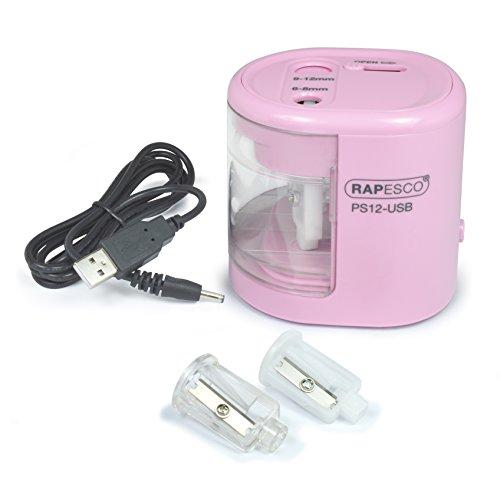 Rapesco PS12-USB temperamatite elettrico a due fori alimentato a pila o carica USB (rosa)