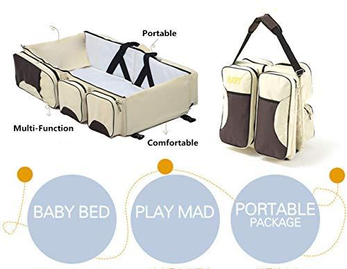 3 in 1 Wickeltaschen für Babys, Multifunktional tragbar Baby-Reisebett Krippe Wickeltasche Faltbar Tragetasche für 0-12 Monate, Dunkelblau - 3