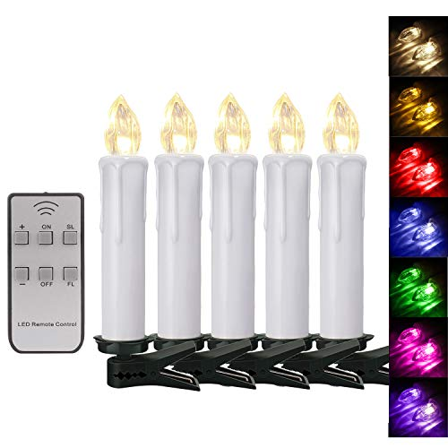 50er Weinachten LED Kerzen Kabellos RGB Weihnachtskerzen Christbaumkerzen Dimmen Flackern Baumkerze-Set,LED-Lichtfarbe RGB + warmweiß