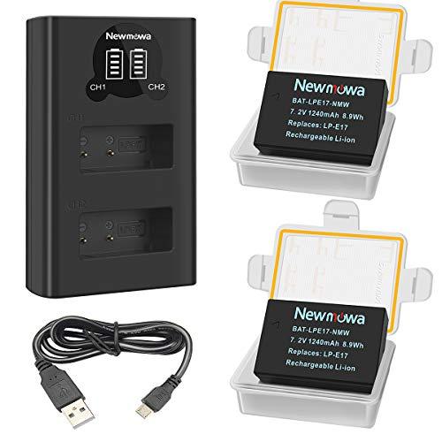 Newmowa LP-E17 Batteria (confezione da 2) e caricabatterie Dual USB intelligente per Canon LP-E17 e Canon EOS M3 M5 M6 M6 Mark II 200D 250D 750D 760D 800D Rebel SL3 T6i T6s 8000D Kiss X8i