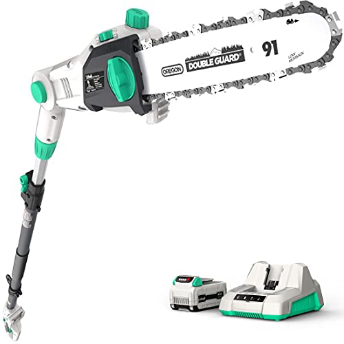 Litheli Cordless Pole Saw 10″, 40V Pole Saws for Tree Trimming, Battery Pole Saw for Branch Cutting, Trimming, Pruning, with 2.5Ah Battery & Charger Included