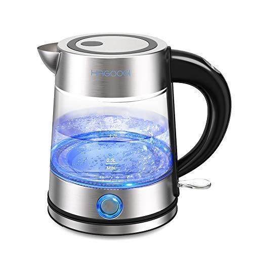 HAGOOGI 電気ケトル ステンレス ガラス ケトル お湯 ポット 安全で衛生 抗菌 湯沸かし 贈り物 1.2L