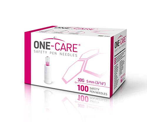 ONE-CARE Safety Pen Needles, 30G, 5mm, Box of 100, Compatible with Most injectors