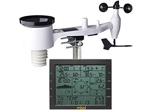 MISOL / Stazione meteorologica Professionale/velocità del Vento direzione del Vento misuratore di Pioggia Pressione Temperatura umidità UV/con Funzione di Carica Solare (Esterno)