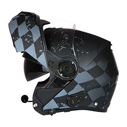 ZLYJ Caschi da Moto Apribili Bluetooth, Doppia Visiera Integrale Caschi da Moto Modulari Altoparlante Incorporato Microfono Auricolare per Risposta Automatica Certificazione ECE I,L(58-60cm)