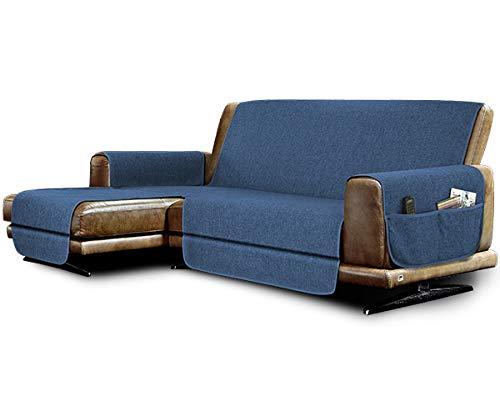 la biancheria di casa Elizabeth Plus Copridivano Antiscivolo Seduta 190 cm, con penisola Sinistra (Vista Frontale), Blue Jeans