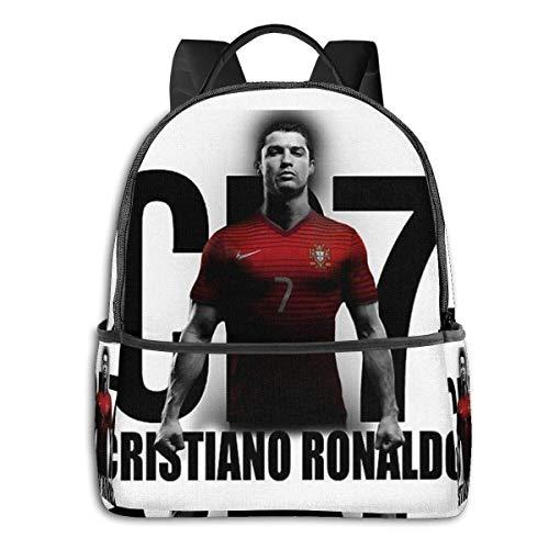 Hdadwy Mochila Cristiano Ronaldo Portugal Cr7 Mochila Unisex Escolar Diaria Mochila Ligera de Viaje Informal para Acampar al Aire Libre
