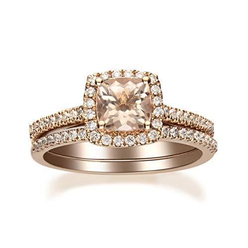 Gin & Grace Oro de 14K Rose Natural Morganita diamante (I1, I2) (Tamaño 6) Conjunto nupcial Proponer Promise Ring para la Mujer
