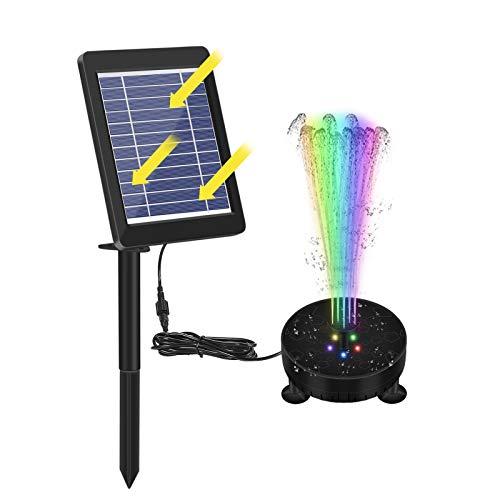 A-A LED Solar Springbrunnen Mit Farbe Licht, 6V 3,5W Solar Teichpumpe mit 1800mAh Batterie, Solar Wasserpumpe/Fontäne Pumpe Für Teich, Vogelbad, Pool, Garten