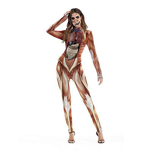 SHANGLY Mujer Jumpsuit Músculo Visceral Impreso Bodycon Bodysuit Disfraz de Halloween Divertido,S/M