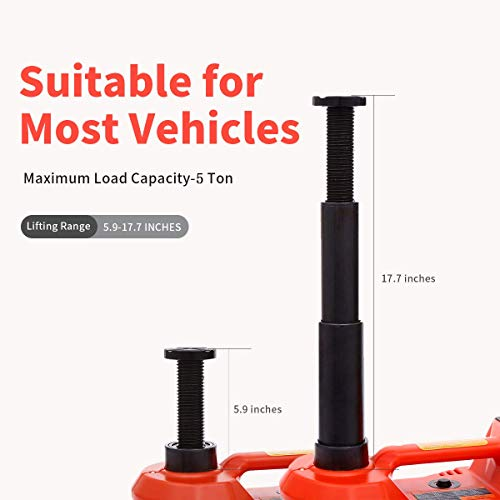 ROGTZ Electric Car Jack 5 Ton 12V Hydraulic Car Jack LED Light Portable Car Repair Tool Kit (Red)