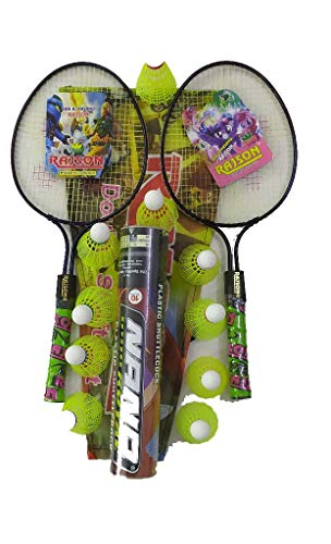Bobby Sports® Badminton Racket for Kids Set of 2 Pieces with Nano Shuttlecock 10 Piece Combo Pack. Color May Vary.