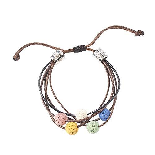 Essential Oil Bracelets, Lava Rock Stone Beads, Leather Braided Rope, Bracelets for Aromatherapy, Yoga, Meditation, Healing, Diffuser Bracelets for Men & Women, 1 Pcs (S5)
