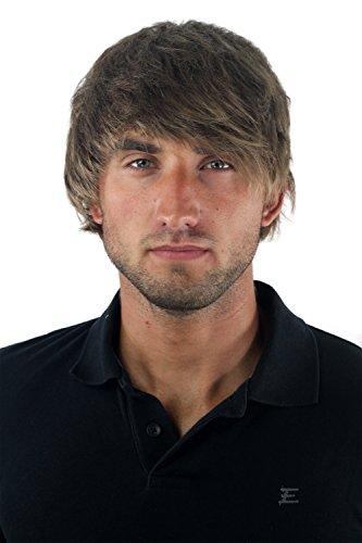 Peluca masculina, para hombre, corto, juvenil, color rubio oscuro, deportivo, estilo bravo erizado, bien estiloso, informal, moderno, cardado, nuevo GFW1169-18