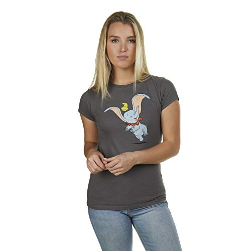 Disney Dumbo Happy T-Shirt Camiseta, Gris (Ant Carbón), L para Mujer