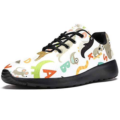 Zapatillas deportivas para correr para mujer, lindos niños, animales salvajes, patrón alfabetos, zapatillas de deporte de malla, transpirables, para caminar, senderismo, tenis, color, talla 41.5 EU