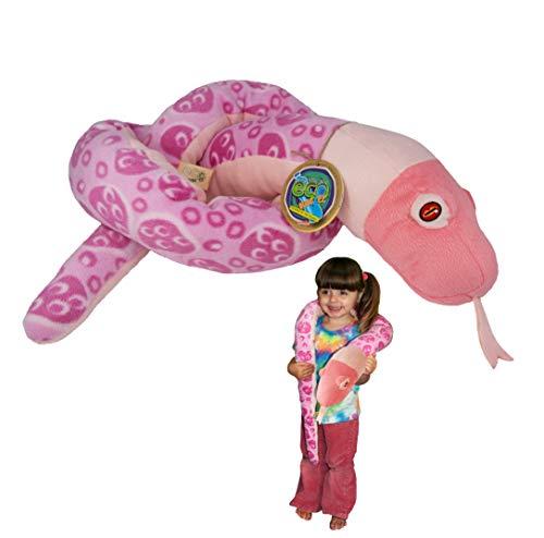 EcoBuddiez Sssnakes - Serpiente de Coral Rosa de Deluxebase. Serpiente Peluche de 140cm. Peluches Grandes y Suaves Hechos de Botellas de plástico Reciclado. Perfecto Regalo ecológico para niños.