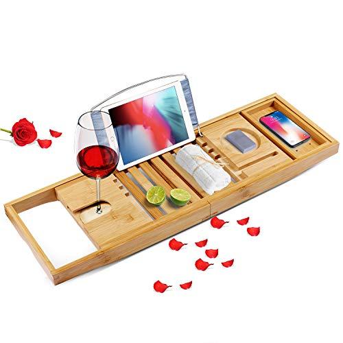 OYUNKEY Bambus Badewannenablage ausziehbar,Badewanne Caddy,Aus Bambus Holz,Für Tablet, Laptop, weinglas,Buchstütze, Handy und Handtuch-Box Halterung, Premium -Geeignet für Verschiedene Badewanne