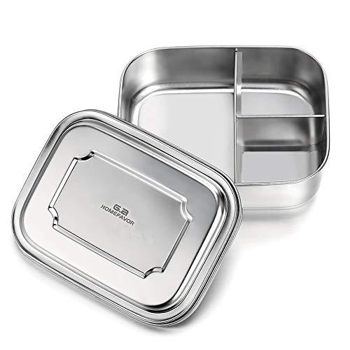 G.a HOMEFAVOR Fiambrera Acero Inoxidable Caja de Almuerzo Bento con 3 Compartimentos Metálica Contenedor De Alimentos para Adultos Y Niños, 1000ml