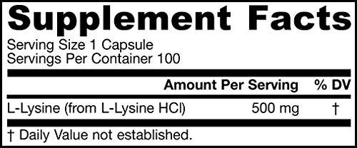 Jarrow Formulas L-Lysine 500 mg - 100 Capsules - Essential Amino Acid for Protein Metabolism - Up to 100 Servings